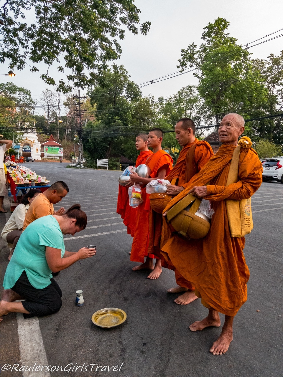 Giving Alms to the Monks in Chiang Mai, Thailand