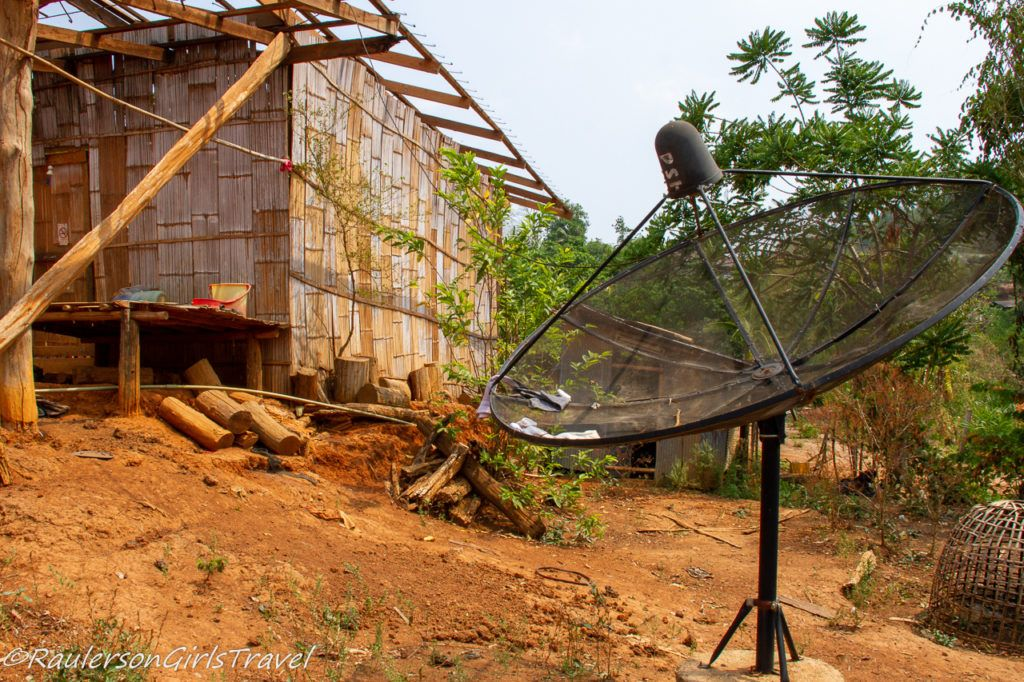 Akha Tribe home with satellite dish