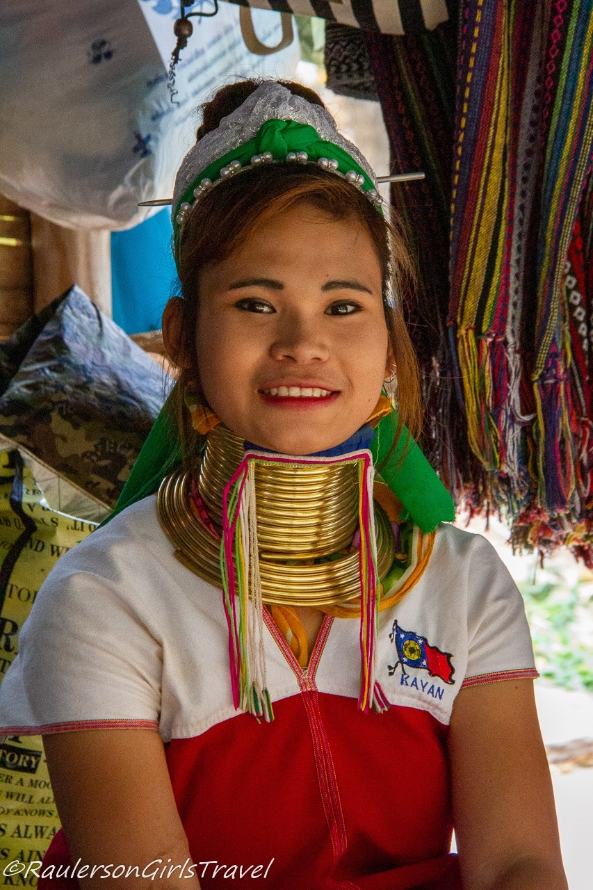 Kayan Lady posing for a photo
