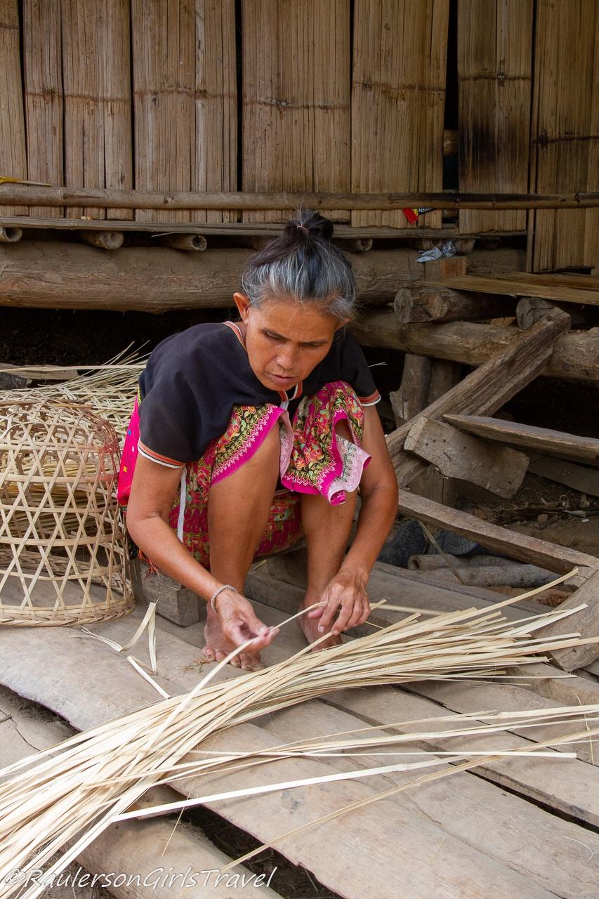 Lady making a basket