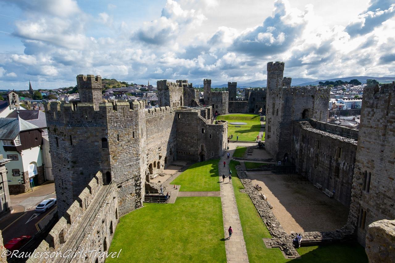Aerial view of Caernarfon Castle