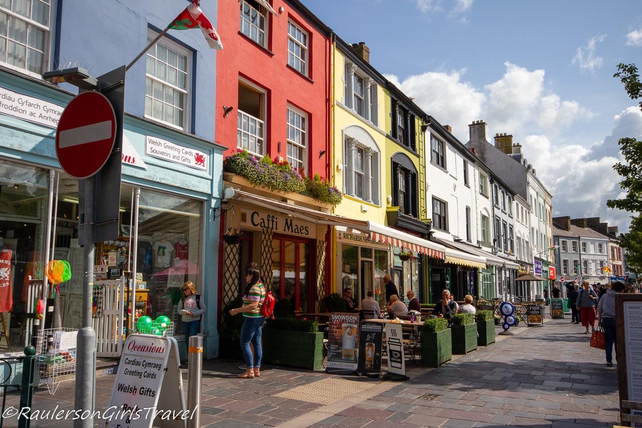 Colorful shops in Caernarfon