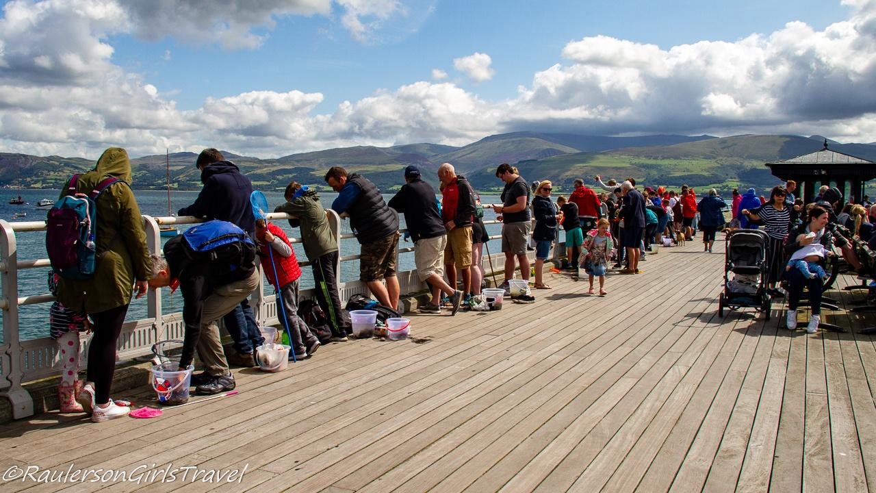 Crabbing crowds on the Beaumaris Pier