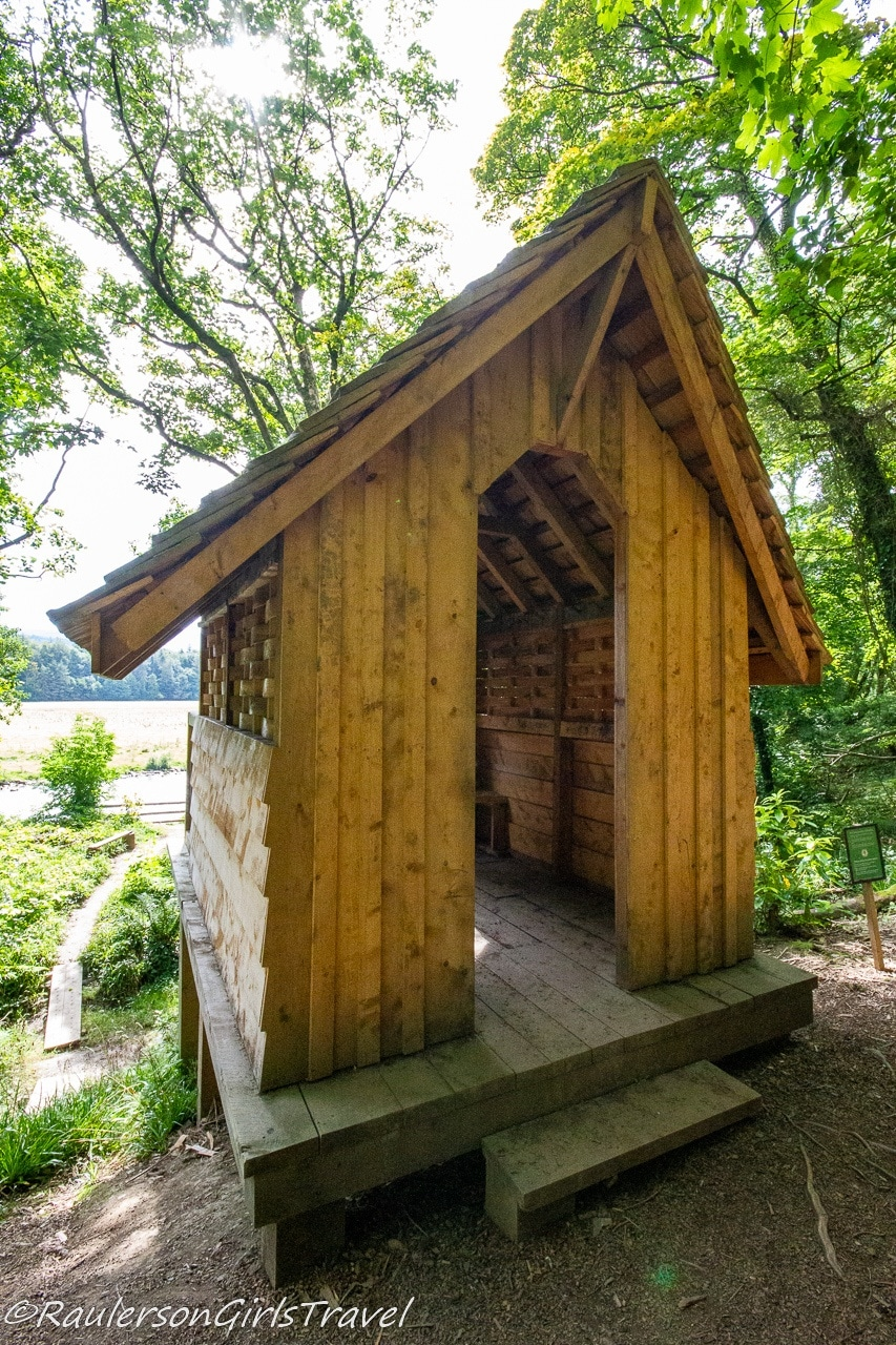 Wood sitting area in the Cwt Ogwen Hide & Play Area