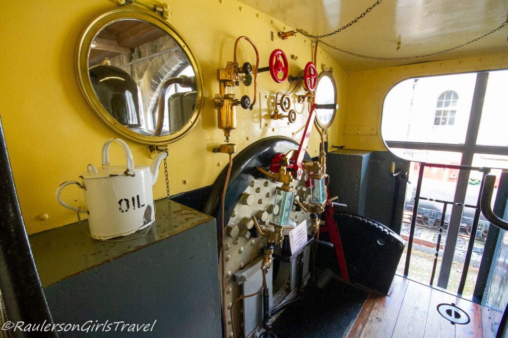 Inside the conductor's train engine of the Vesta Locomotive