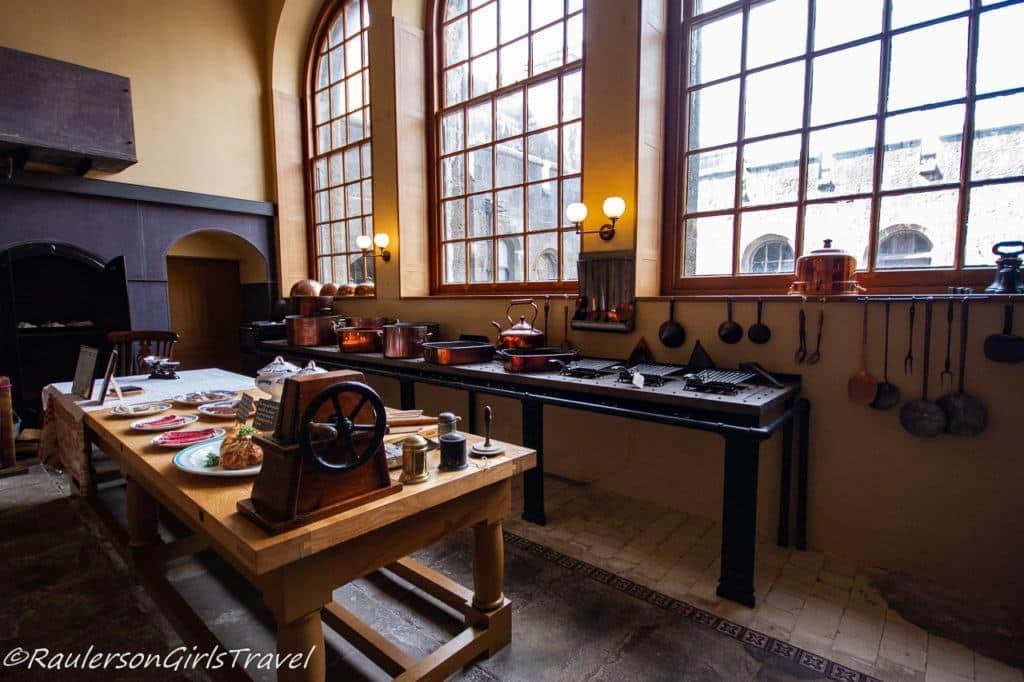 Work tables in Victorian Kitchen