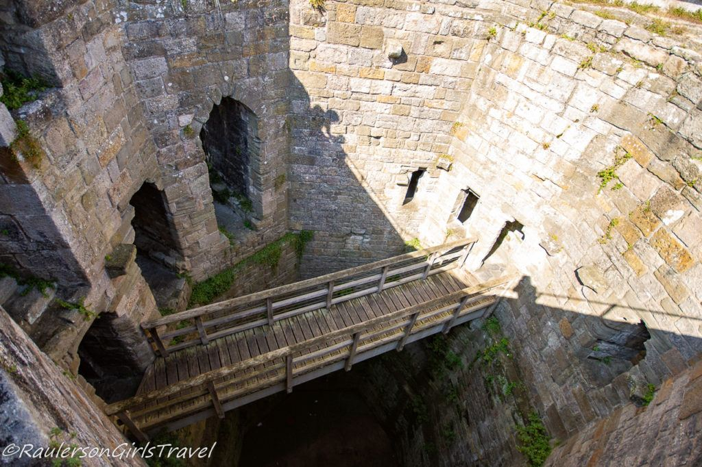 Looking down one of the Caernarfon Castle towers