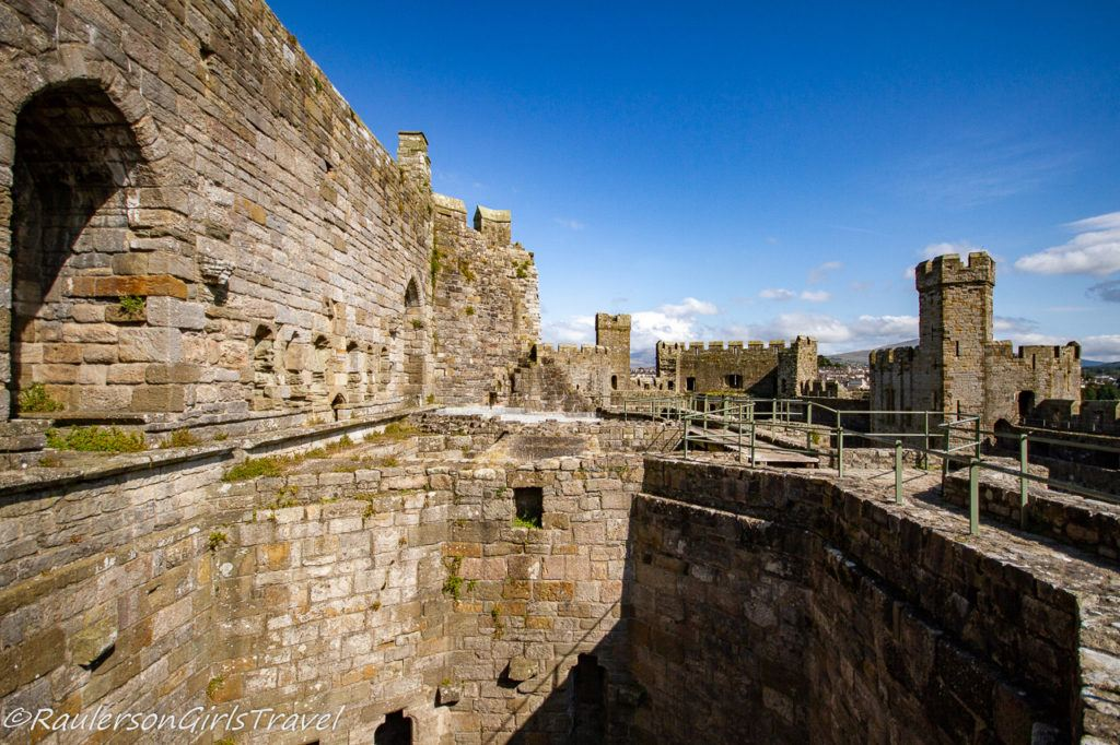 View along the top of the walls in Caernarfon Castle