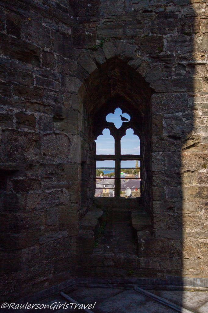 View through a window in Caernarfon Castle