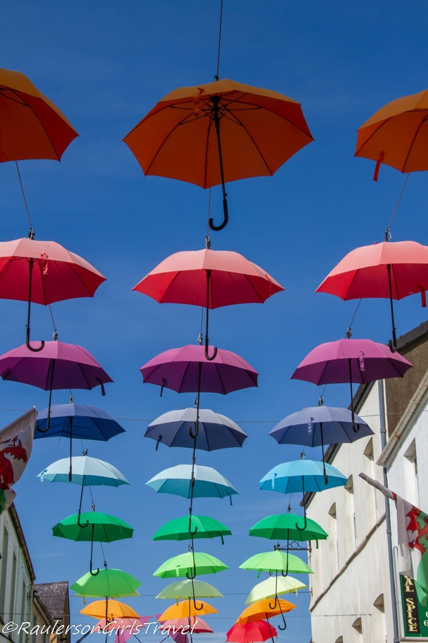 Colorful Umbrellas on Caernarfon Street