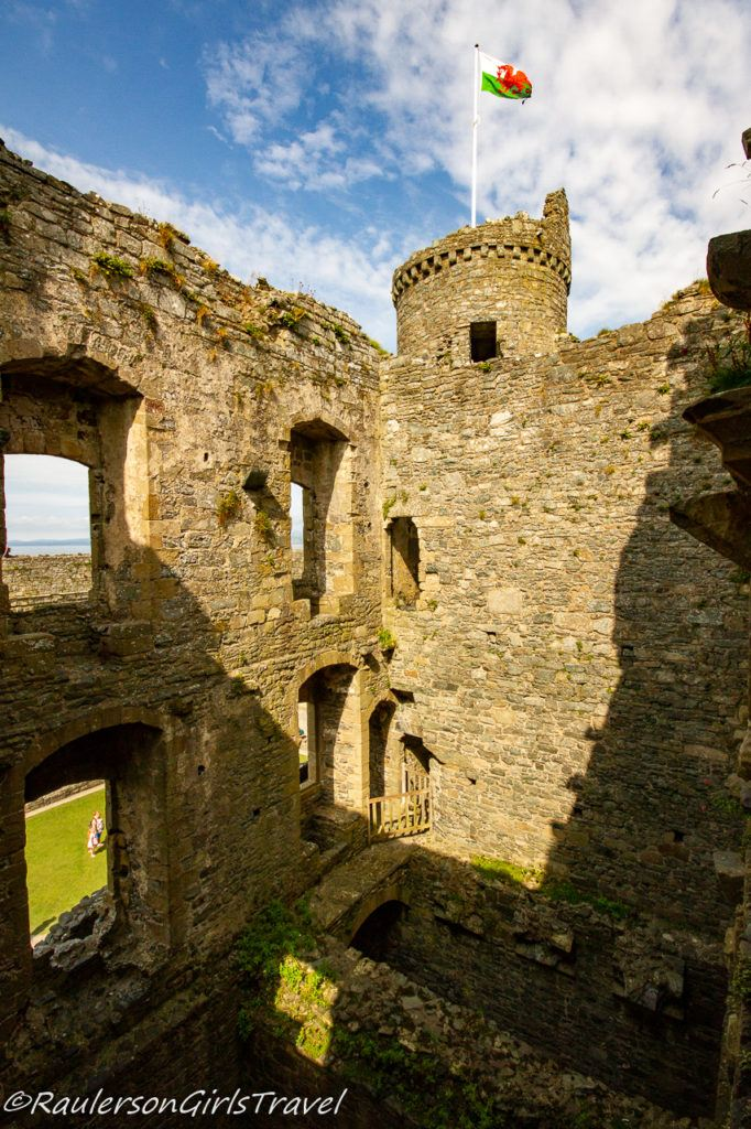 Interior Walls and Tower with Wales Flag
