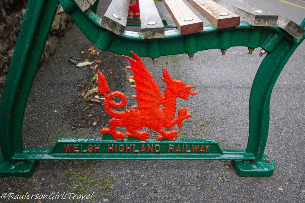 Red Dragon on the benches at the Welsh Highland Railway Train Stations