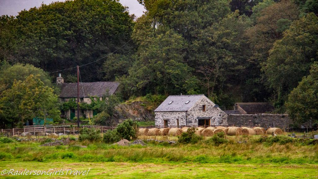 House with hay rolls in Wales