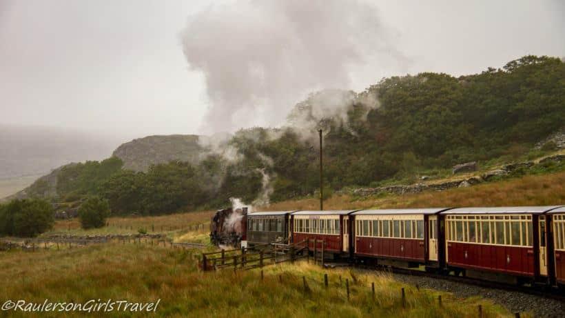Train going through Snowdonia National Park
