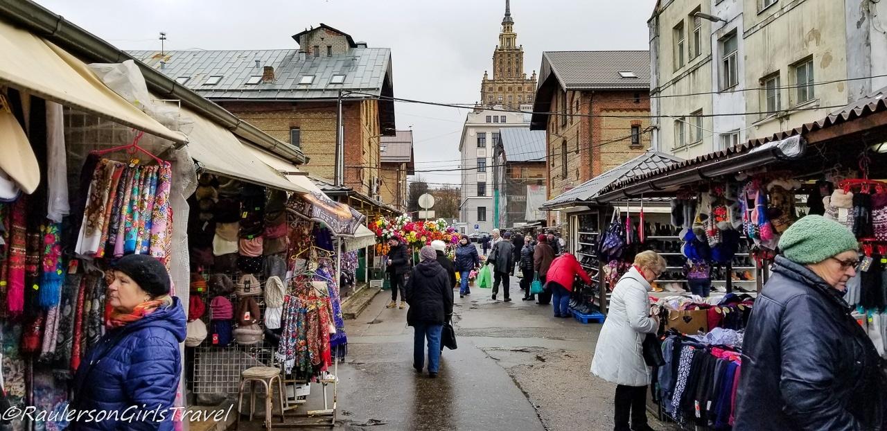 Outdoor aisles of the Riga Central Market