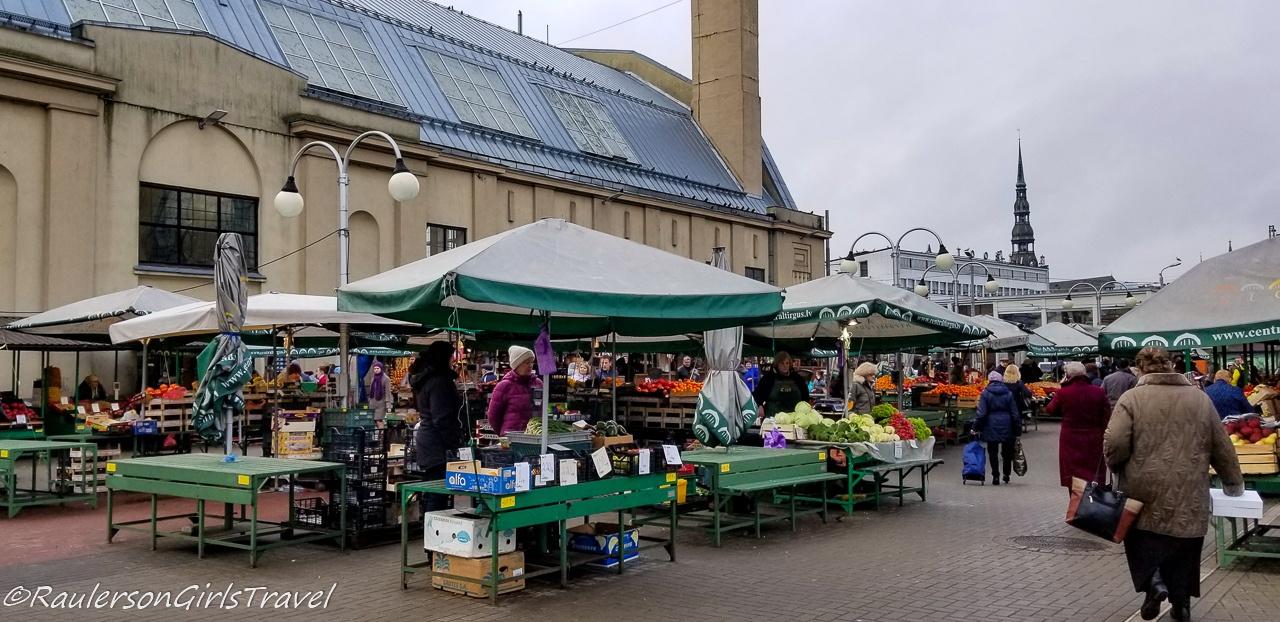 Vegetable stalls at the Riga Central Market