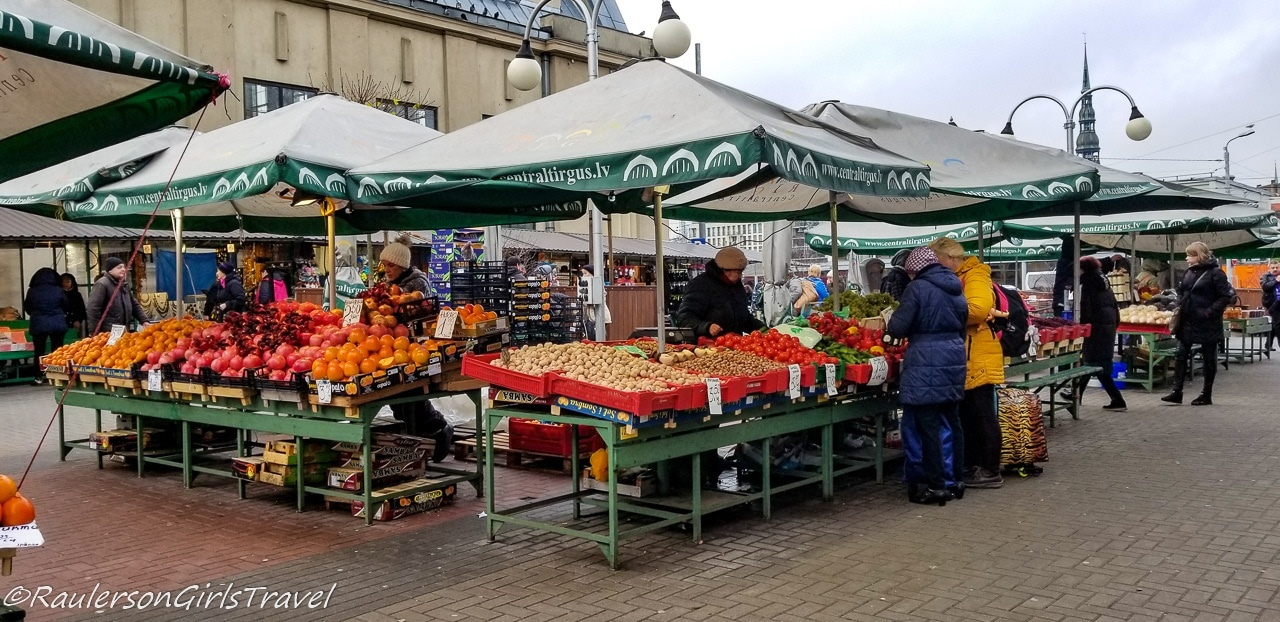 Fruits and Vegetable Stalls at the Riga Central Market