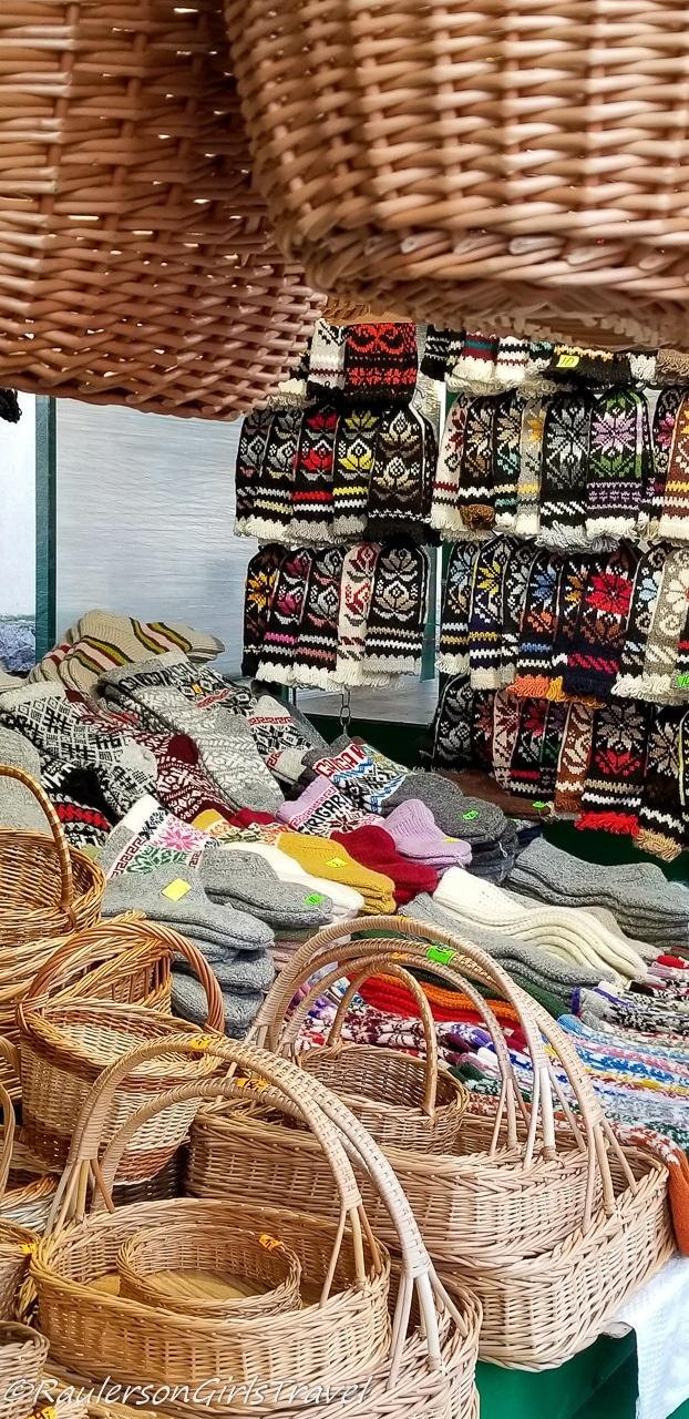 Basket and socks at Riga Central Market