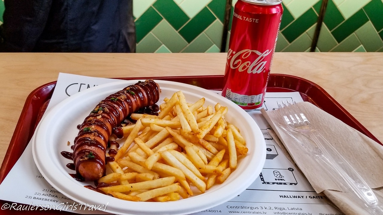 Sausage and fries at the Riga Central Market