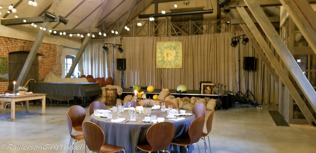 Banquet Hall in the Event shed at Mazmežotne Manor