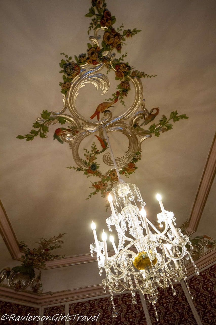 Flowers and Gold Leaf Detailed Ceiling