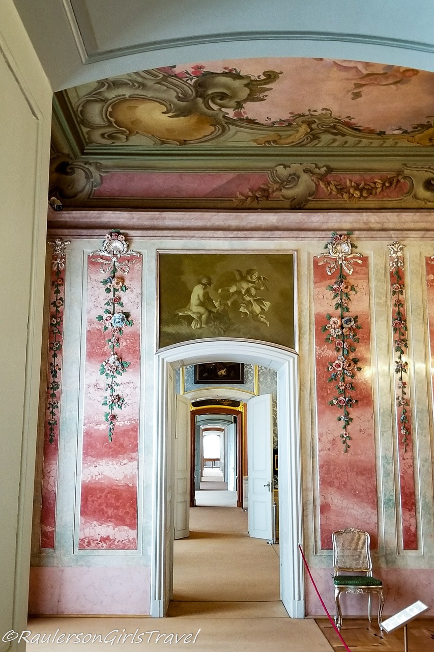 Fabric Wallpaper and Painted Ceilings