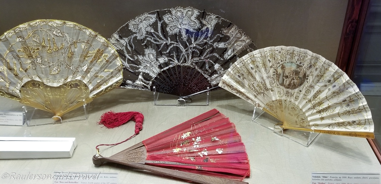 Gold, Black White, and Red Embroidered Hand Fans