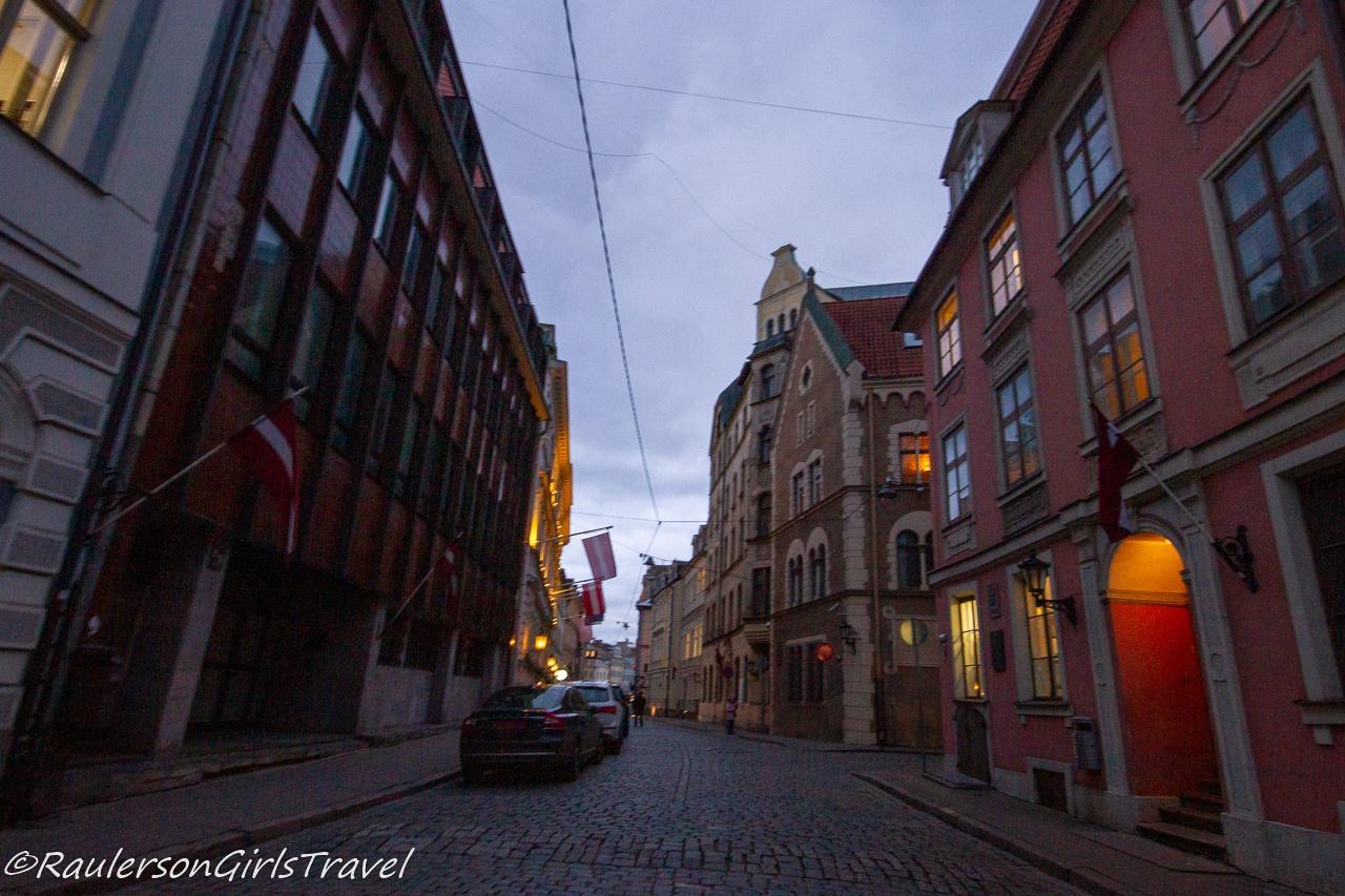 Riga old town street at dusk
