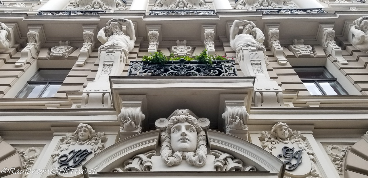 Figures on the Art Nouveau buildings in Riga