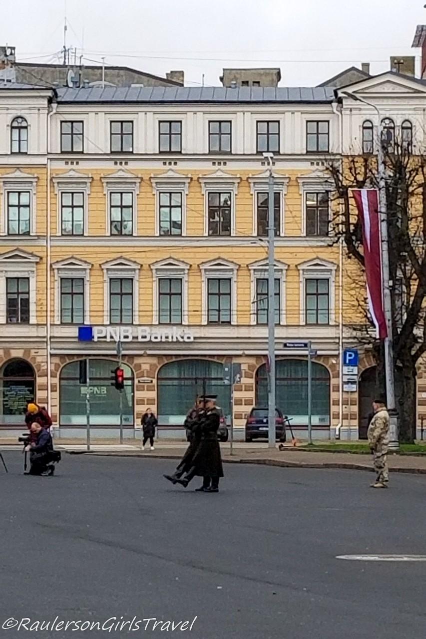 Soldiers marching on Lāčplēsis Day