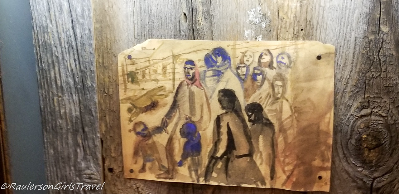 Painting of Jewish People in the Riga Ghetto
