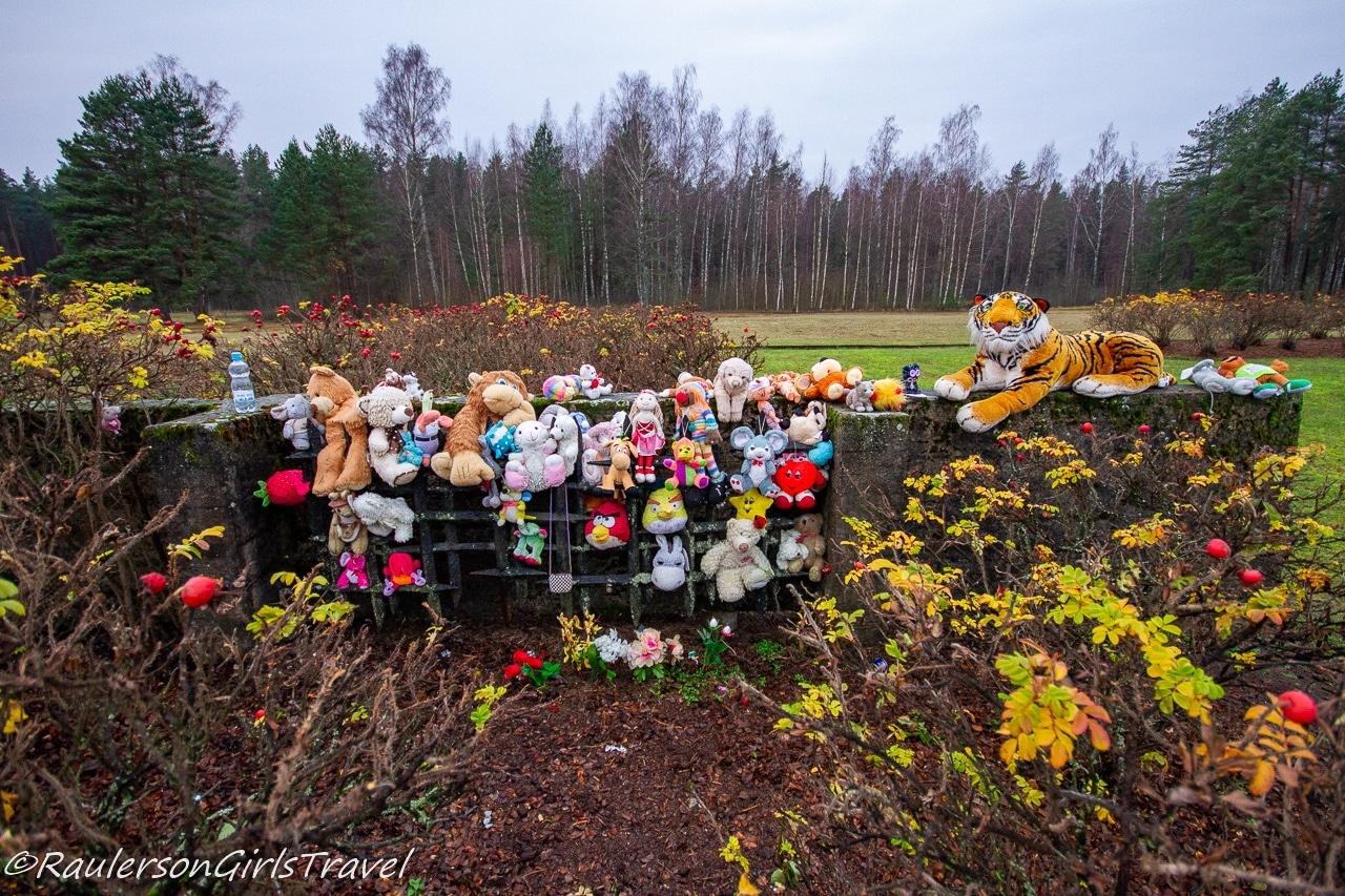 Gifts left on the Salaspils Children Barracks Foundation