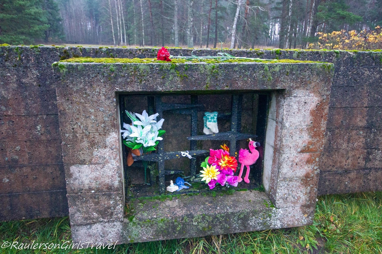 Flowers and gifts at the Salaspils Barracks Foundations