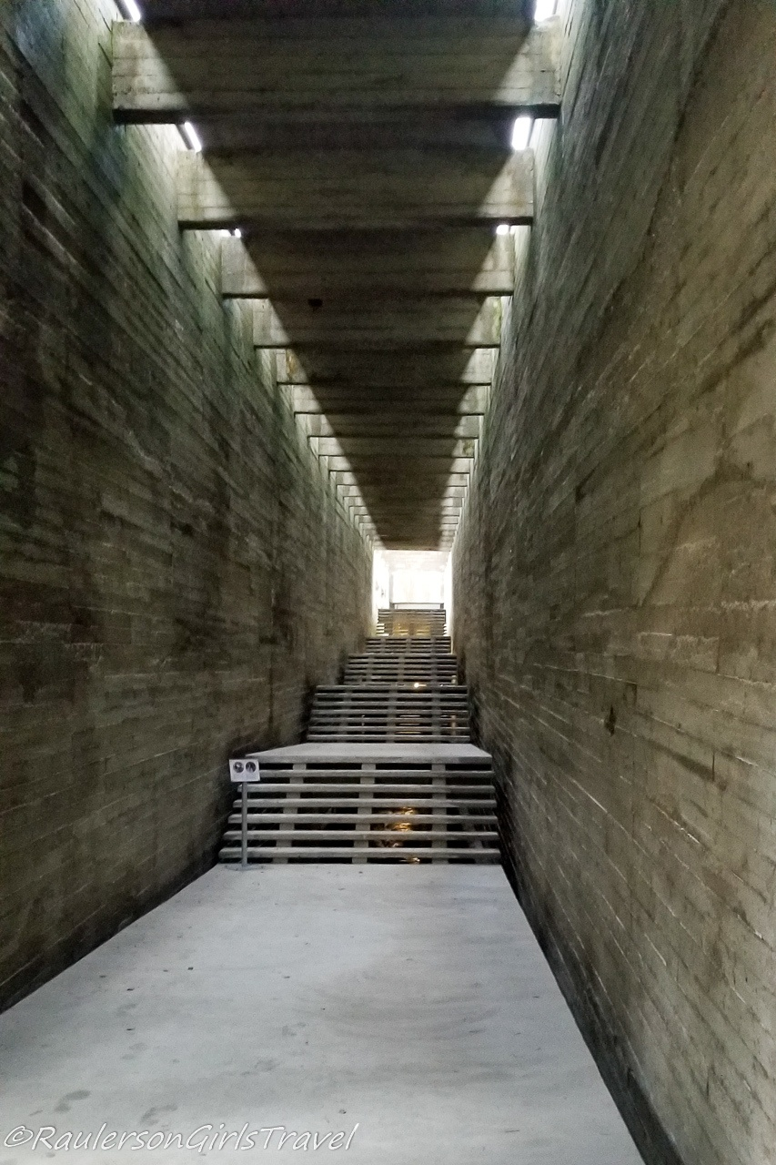 Inside the Concrete Gallery at Salaspils