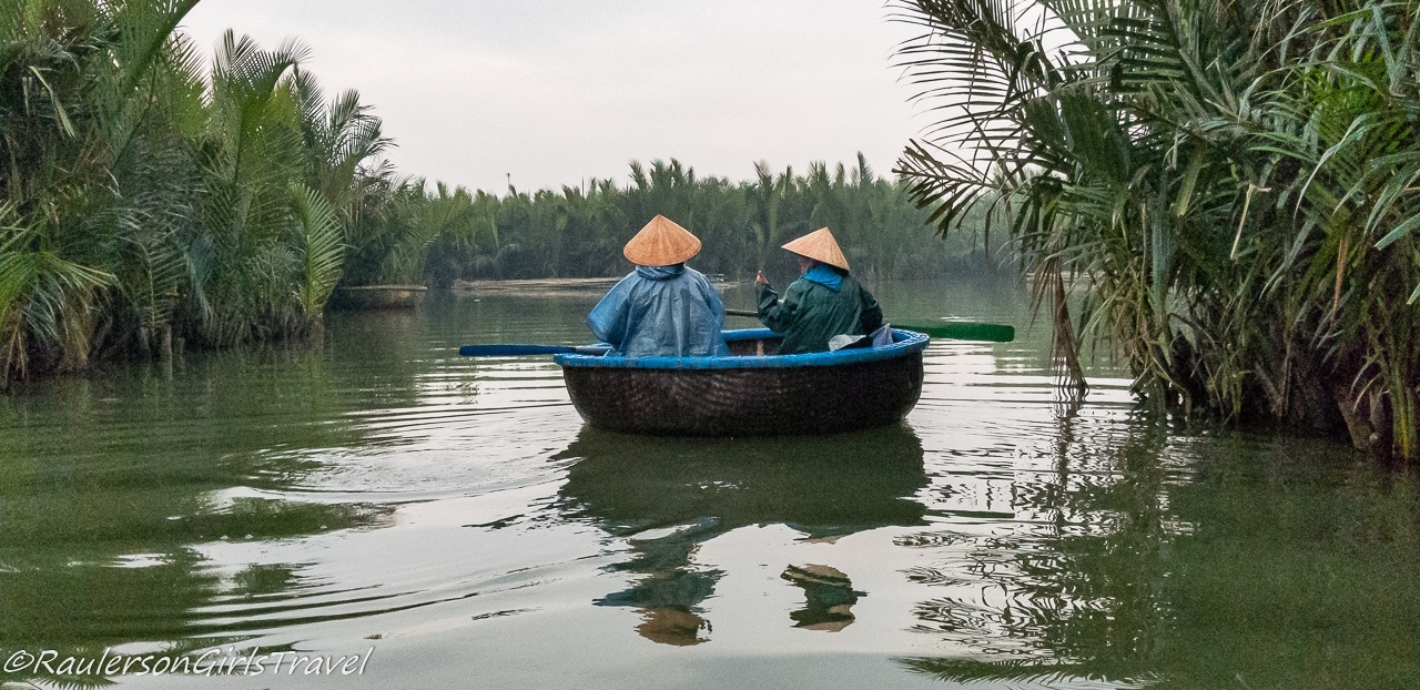 Floating in a Coconut basket in Hoi An