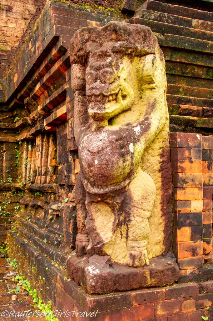 Carved statue next to steps