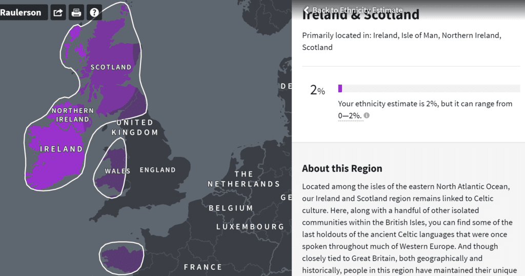 Ireland and Scotland DNA results