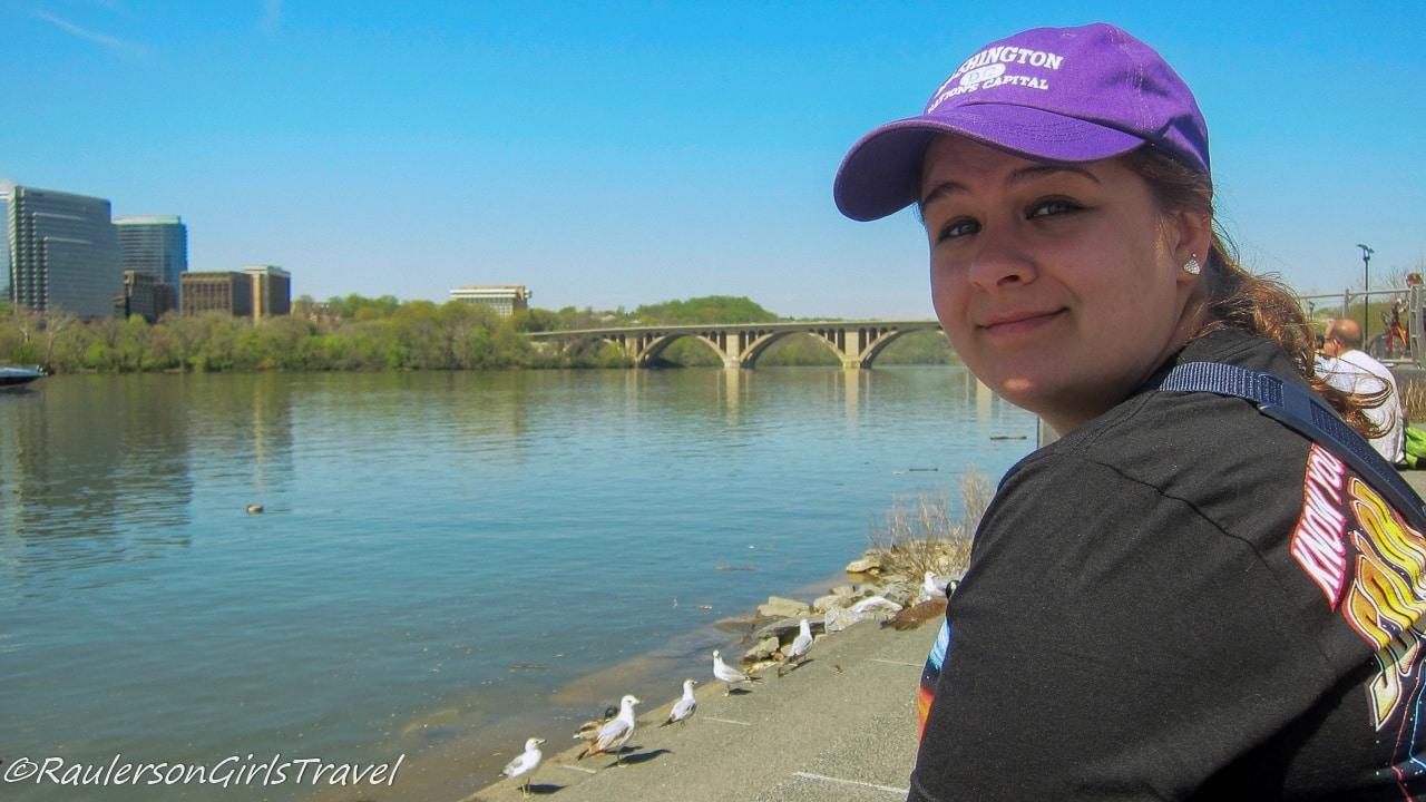 Kayla Feeding the Birds by the Potomac River