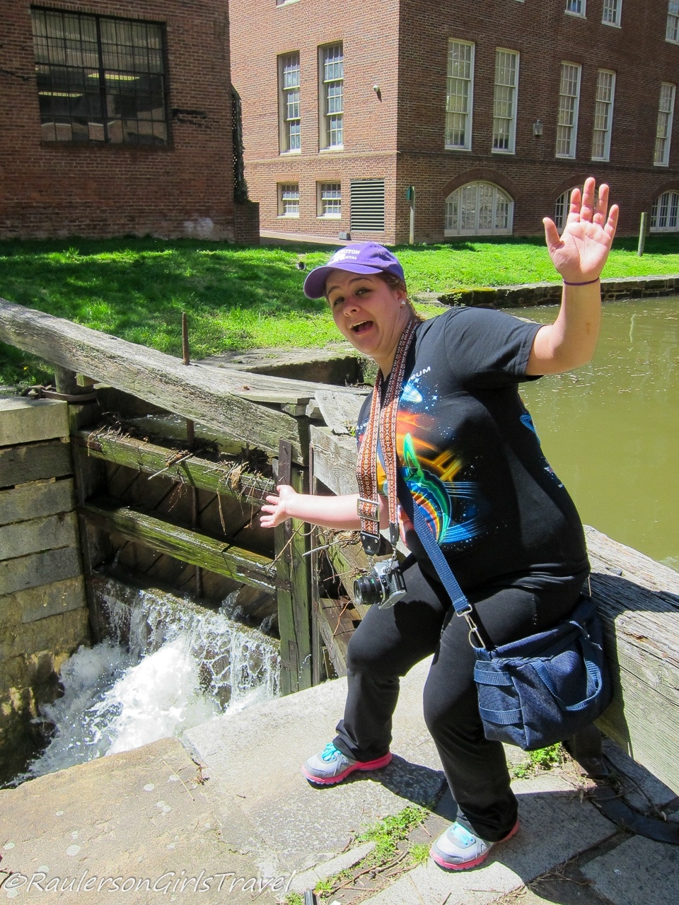 Kayla goofing around by the canal