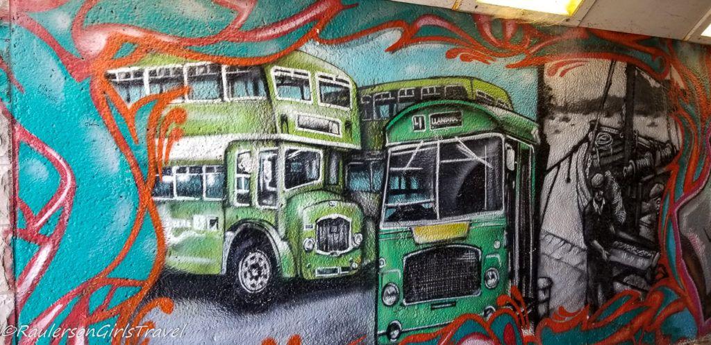 Double-decker buses street art