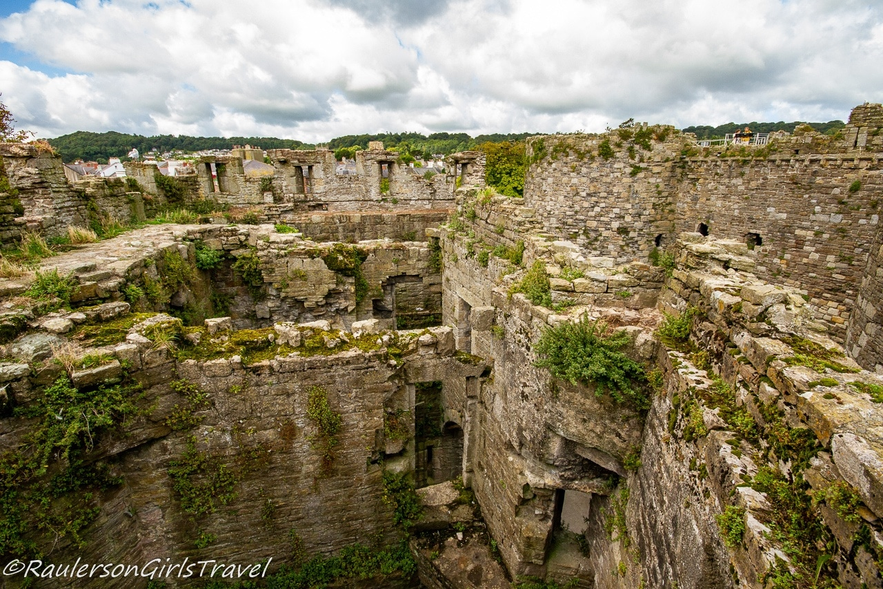 View at the top of the walls of Beaumaris Castle