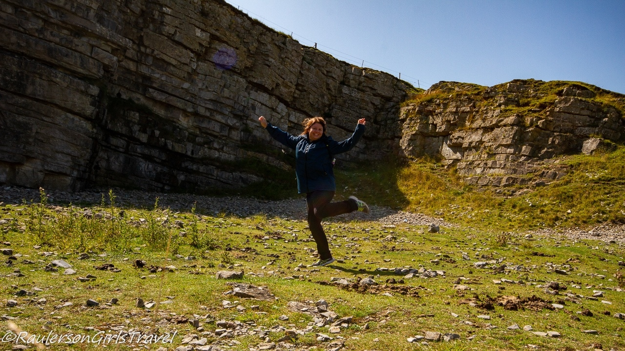 Heather leaping at the quarry