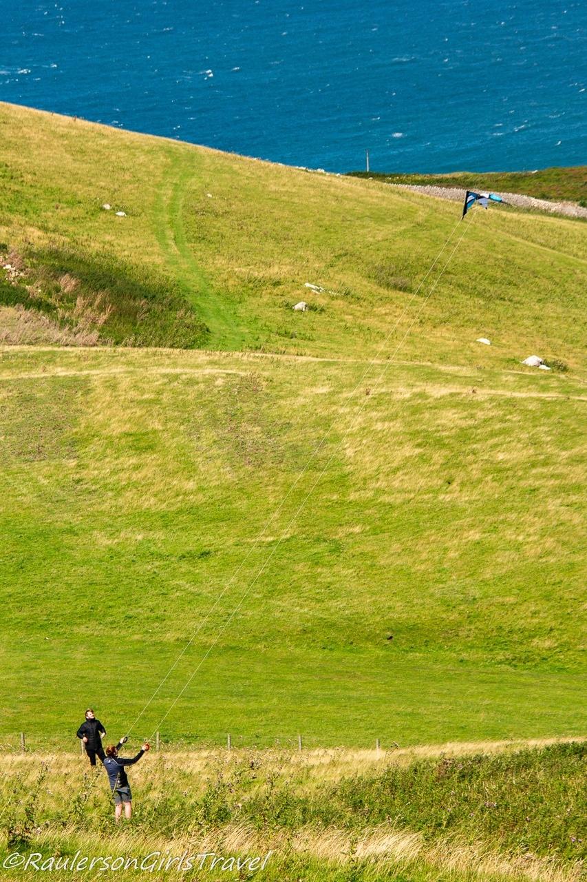 Flying a kite in Llandudno