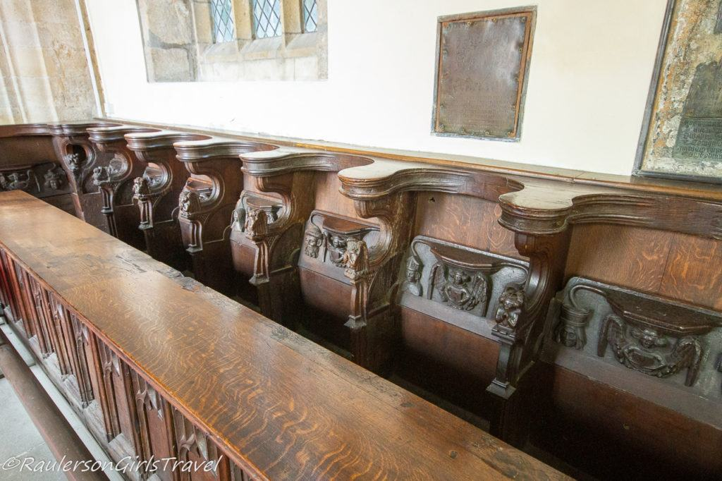 Wooden pews in St. Mary's & St. Nicholas's Church