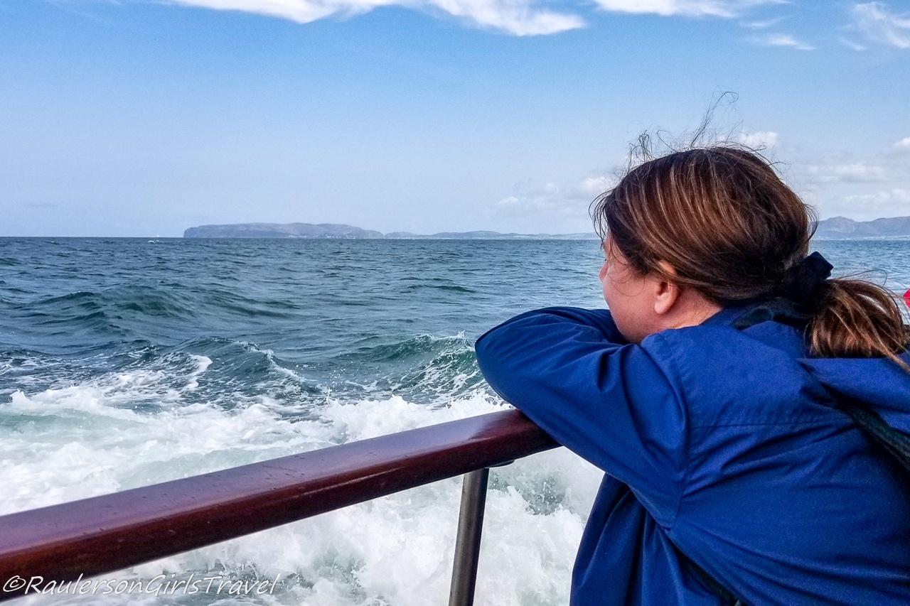 Heather on a boat ride around Puffin Island