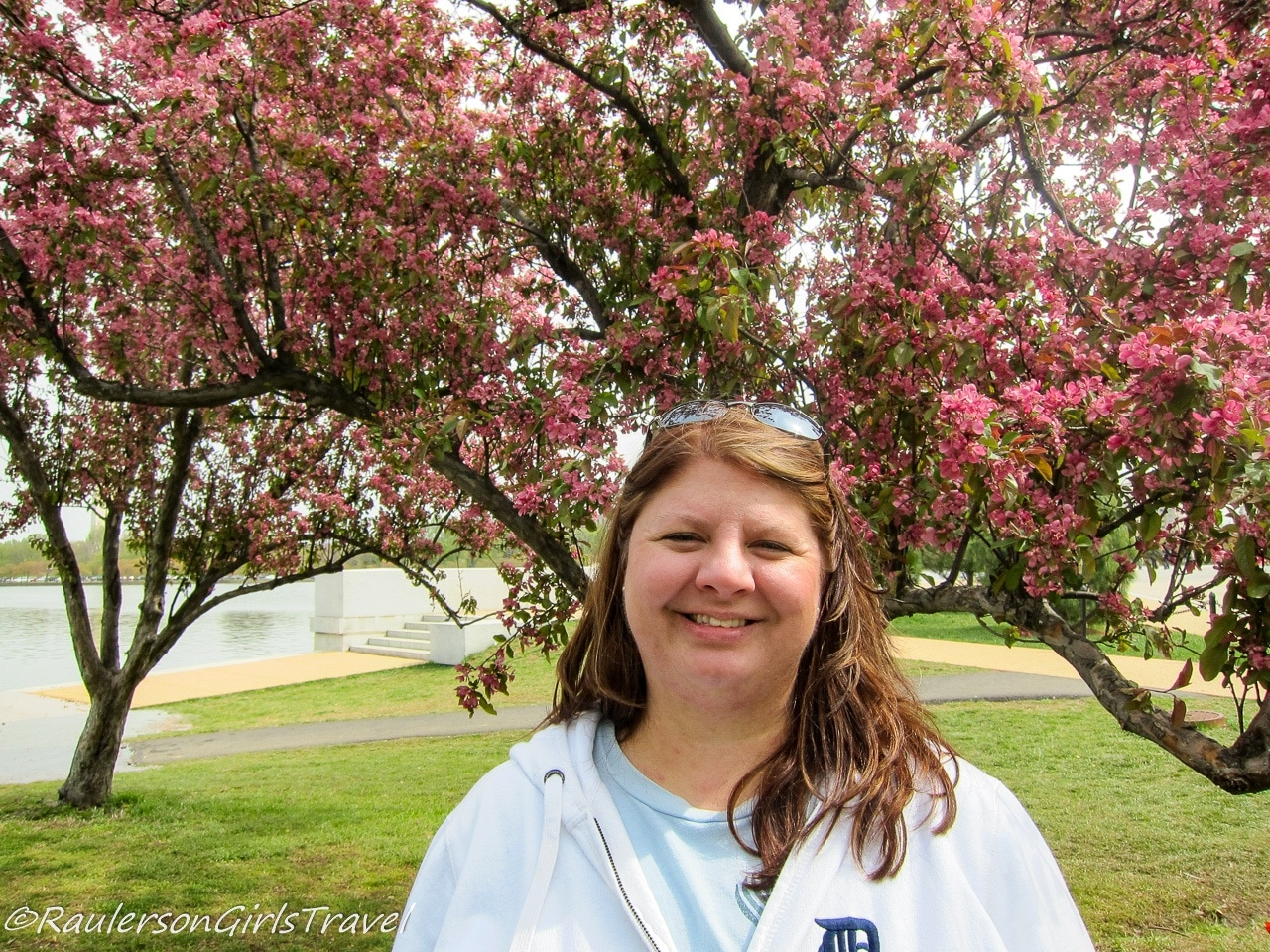 Heather smiling with Cherry Blossom Trees