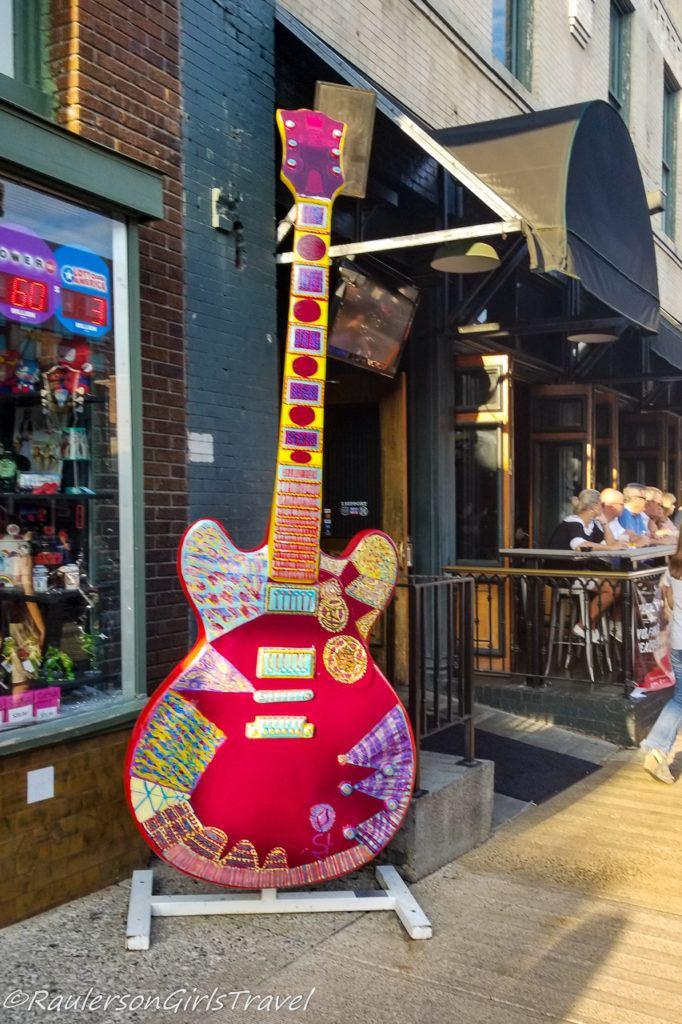 Colorful red guitar Big Guitar Art in Memphis
