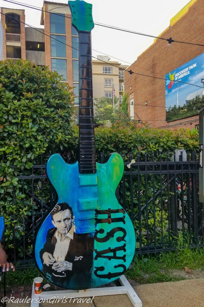 Johnny Cash Big Guitar Art in Memphis