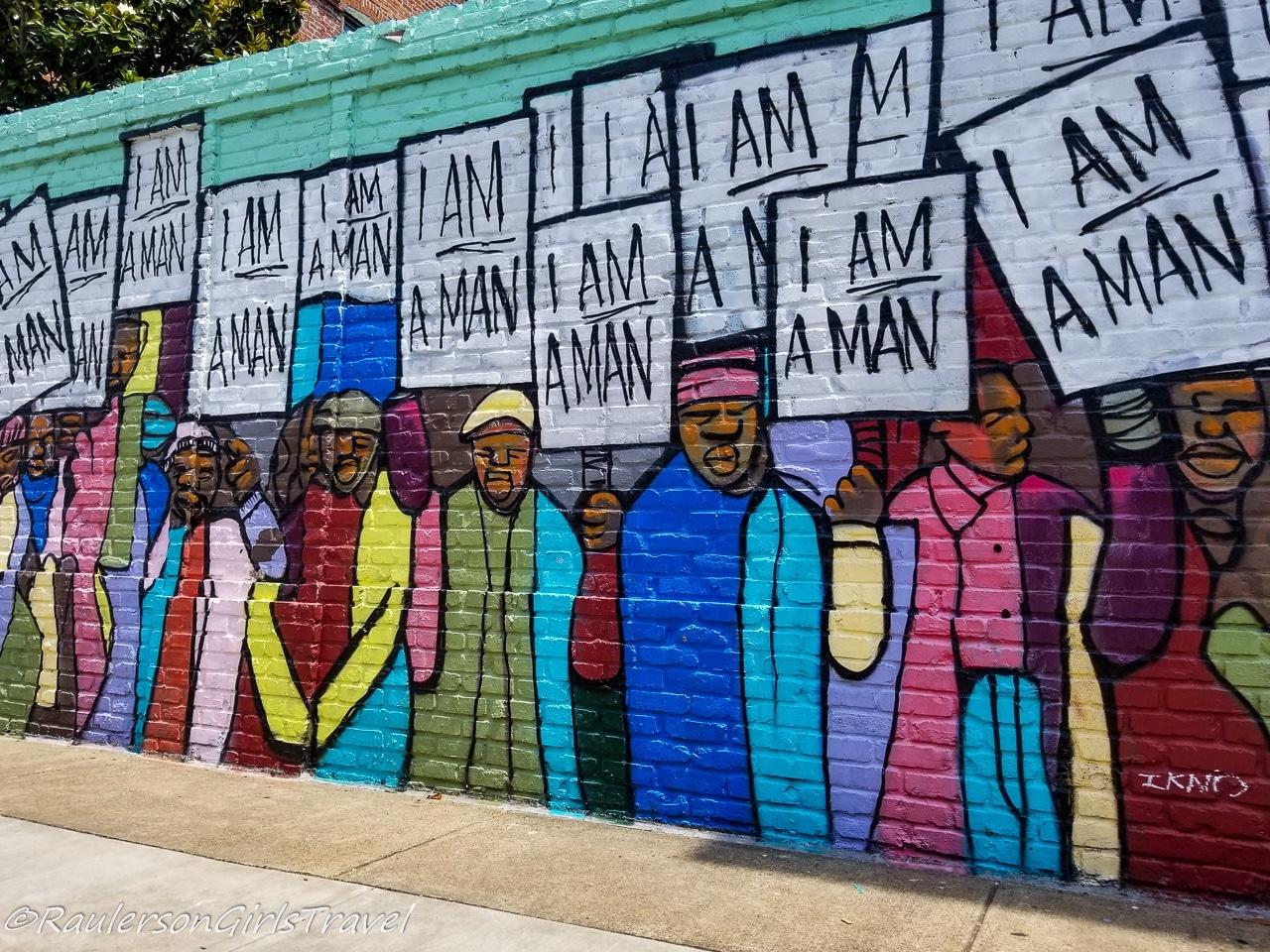 I Am A Man Street Mural in Memphis