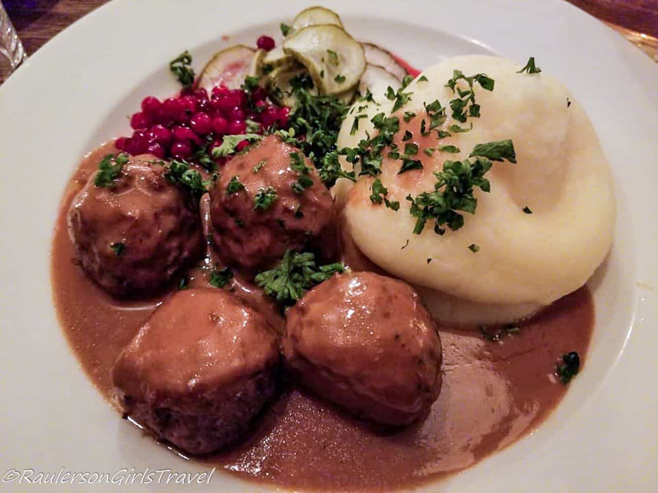 Swedish Meatballs and Mashed Potatoes in Sweden